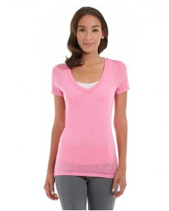Karissa V-Neck Tee-L-Red